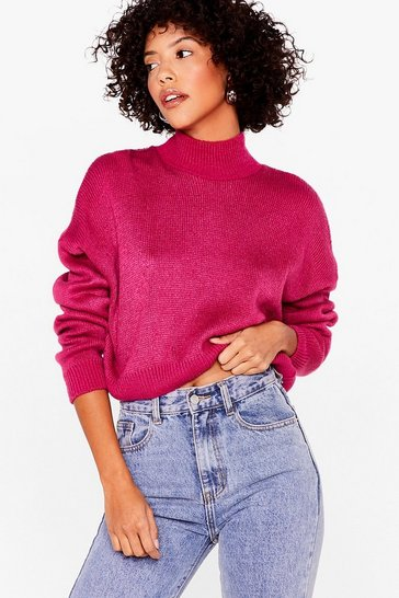 Womens Fuchsia In Our Comfort Zone Relaxed Knit Sweater