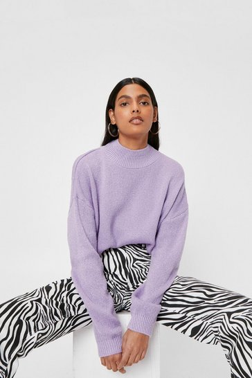 Lilac In Our Comfort Zone Relaxed Knit Sweater