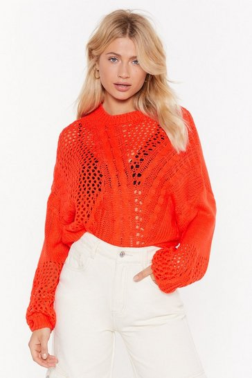 Red If Knit Makes You Happy Cable Knit Sweater