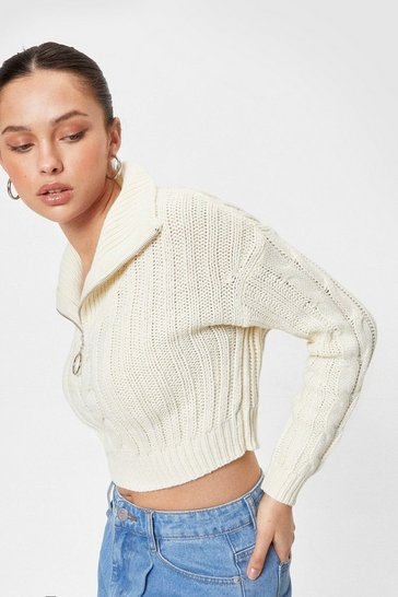 Womens Ecru Funnel-y Enough Cable Knit Cropped Sweater