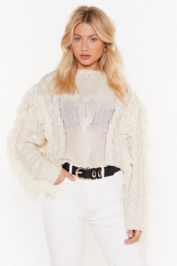 Womens Ecru Crop Cable Tassle Jumper