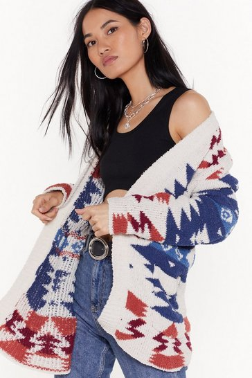 Cream Knit's Never Too Late Aztec Cardigan