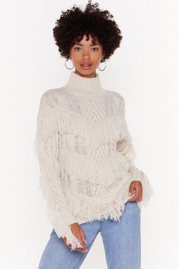 Womens Ecru Make Sway Cable Knit Fringe Sweater
