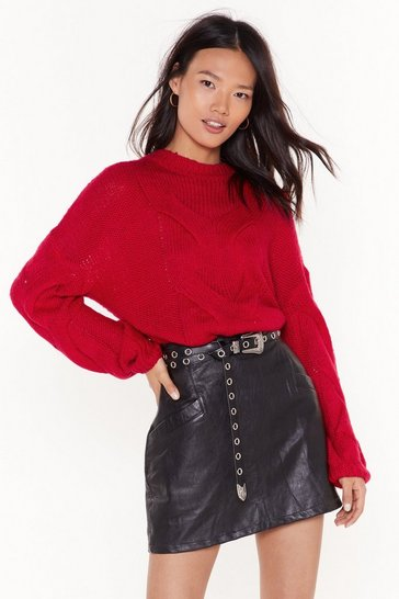 Womens Red Jumble Cable Fluffy Jumper