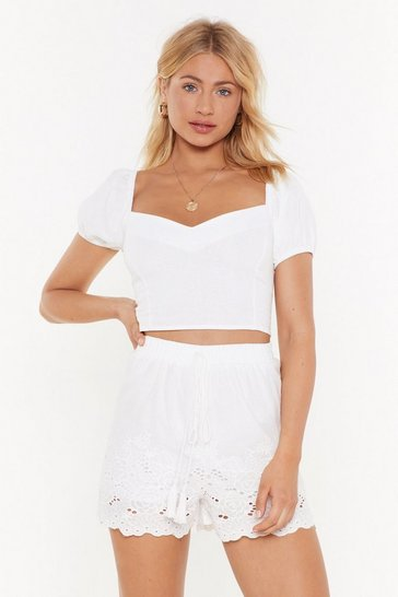 White You're Sew Vain Broderie Anglaise Shorts