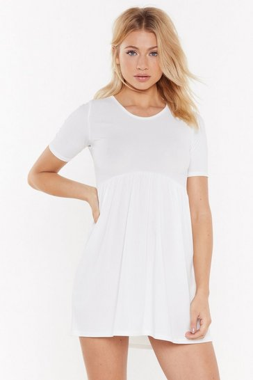 Womens Cream Baby It's You Drop-Waist Ribbed Mini Dress