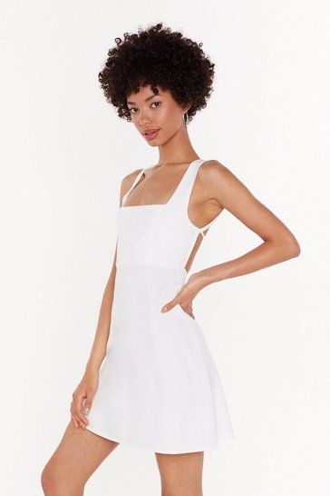 Womens White Turning My Back on You Tie Mini Dress