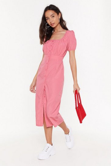 Womens Pink The Right Puff Sleeve Button-Down Midi Dress