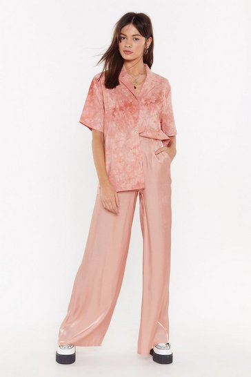 Womens Pink I Make Shit Satin Wide-Leg Pants