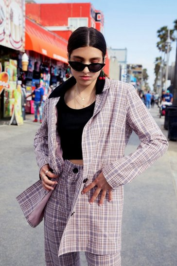 Womens Pink Plaid It So Good Oversized Check Blazer