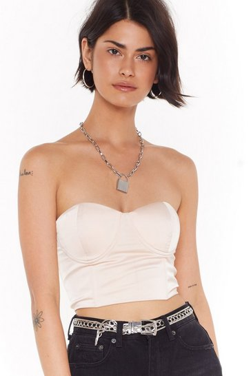 Womens Blush Straight From the Boudior Satin Bra Top