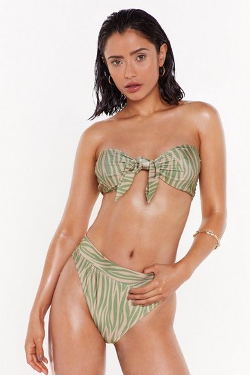 Womens Sage Pool For the Summer Zebra Bandeau Bikini Set