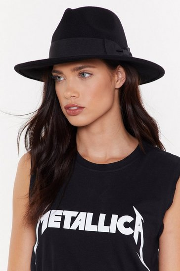 Womens Black Two-Tone It Down Wool Fedora Hat
