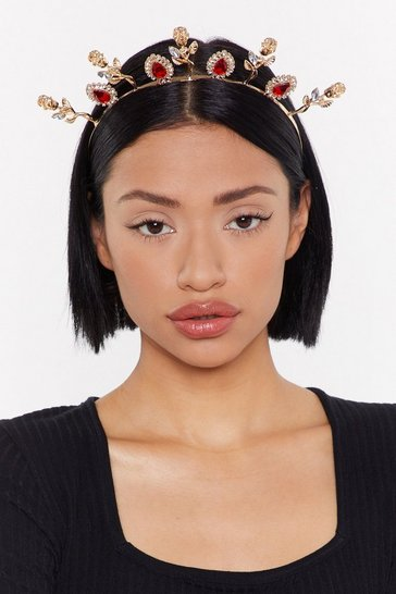Womens Gold Queen Of Hearts Embellished Headband