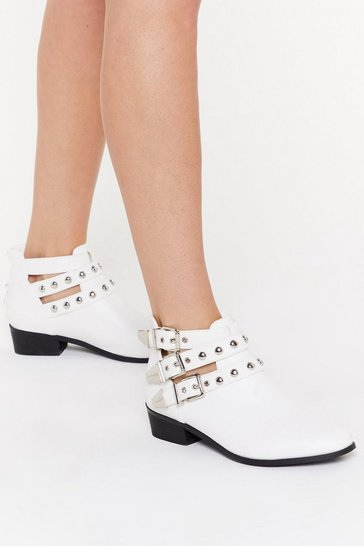 Womens White Dome Stud Cut Out Ankle Boot