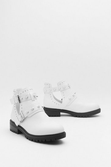Womens White Pearl Embellished Biker Boots