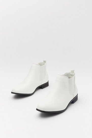 Womens White Basic Flat Chelsea Boot