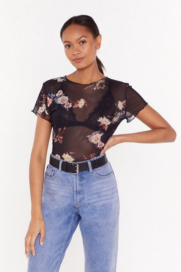 Womens Black Mesh You Can Floral Sheer Top
