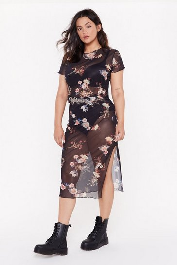 Womens Black A Breath of Mesh Air Plus Floral Midi Skirt