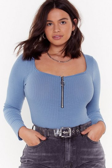 Womens Denim-blue Zip to Be Square Plus Bodysuit