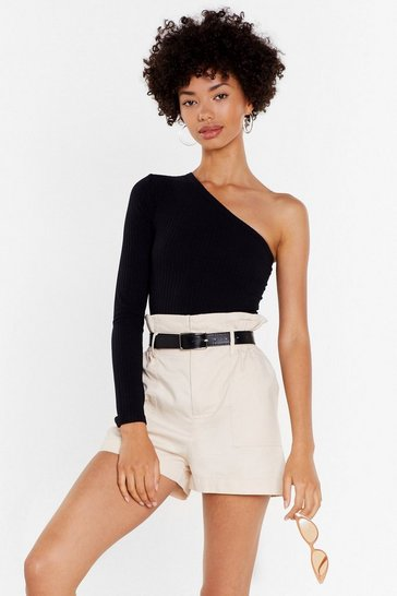 Black She's the One Shoulder Ribbed Bodysuit
