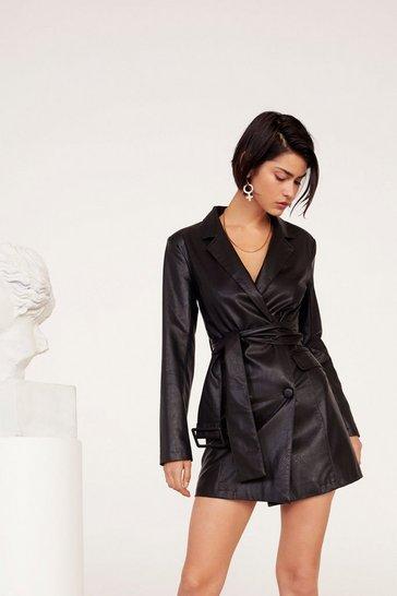 Black Bar Business Faux Leather Blazer Dress