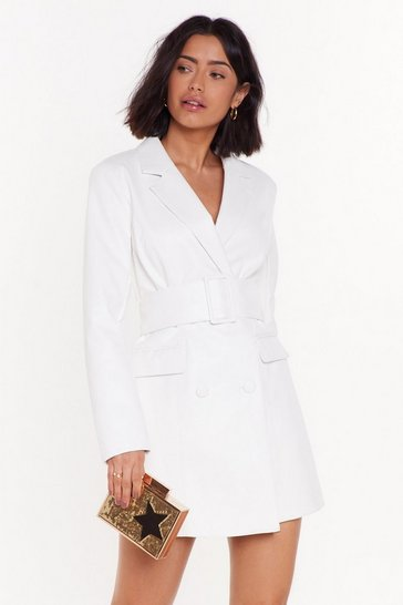 Cream Bar Business Faux Leather Blazer Dress