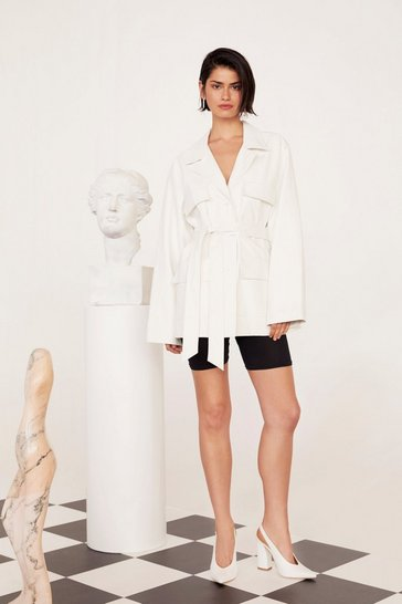 White Faux Leather Belted Button Down Jacket