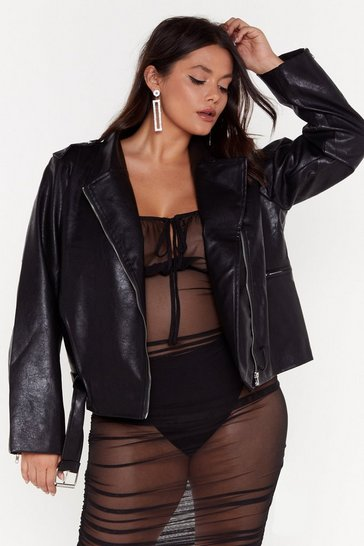Womens Black Hello Moto Faux Leather Oversized Jacket