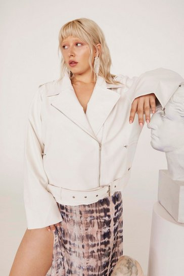 Womens White Hello Moto Faux Leather Oversized Jacket