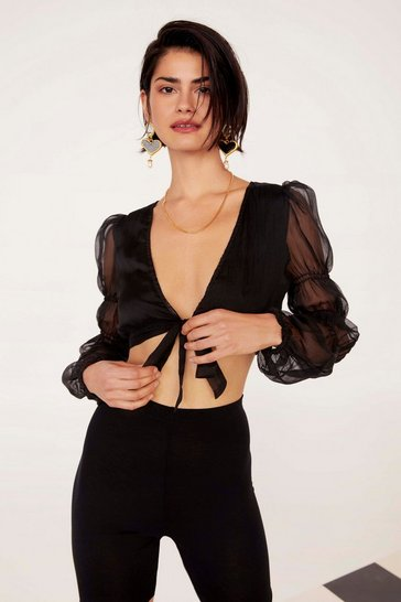Black Gather Round Sheer Tie Top