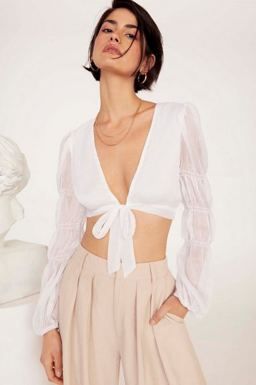 Womens White Gather Round Sheer Tie Top