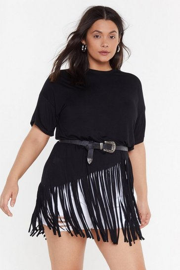 Womens Black Time to Fringe Plus Oversized Tee