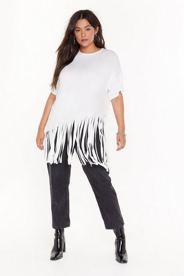 Womens Ivory Time to Fringe Plus Oversized Tee