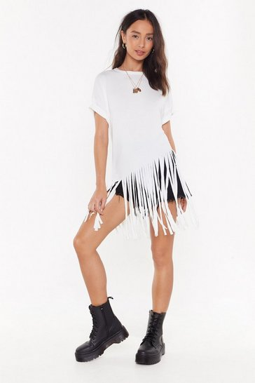 Womens Ivory Time to Fringe Oversized Tee