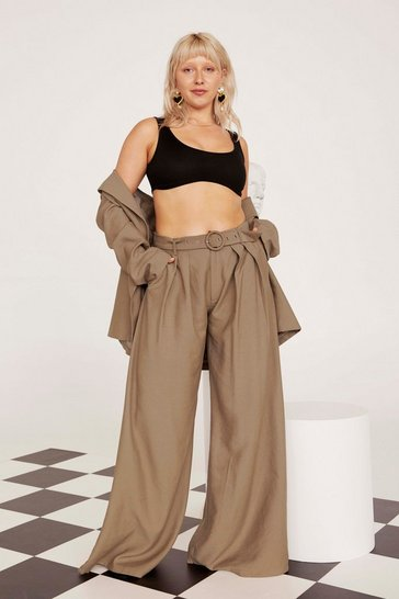 Womens Tan Business As Usual Wide-Leg Belted Plus Trousers