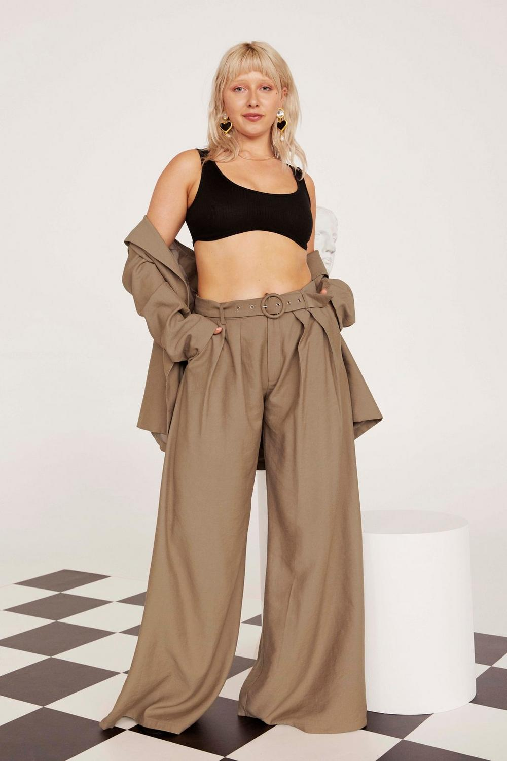 Business As Usual Wide Leg Belted Plus Pants by Nasty Gal