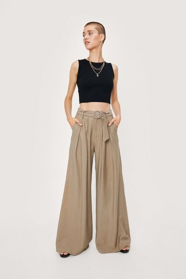 Womens Ecru Business As Usual Wide-Leg Belted Pants