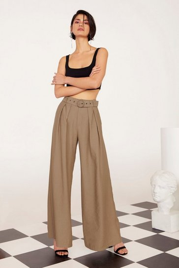 Tan Business As Usual Wide-Leg Belted Pants