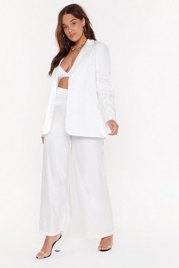 Womens White We're Finished Plus Satin Pants