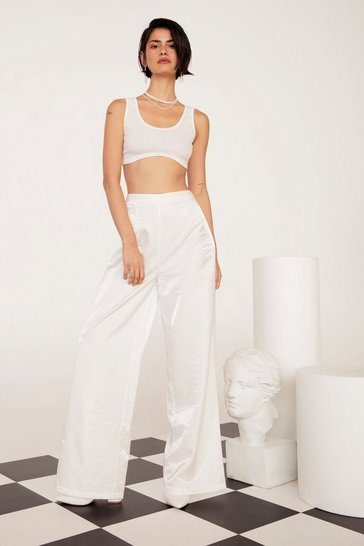 Womens White We're Finished Satin Wide-Leg Pants