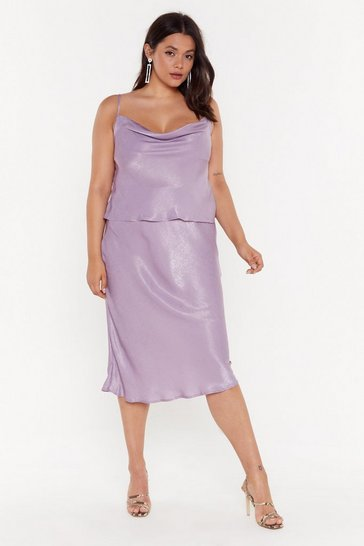 Womens Lilac Get Your Sleek On Satin Bias Cut Plus Skirt