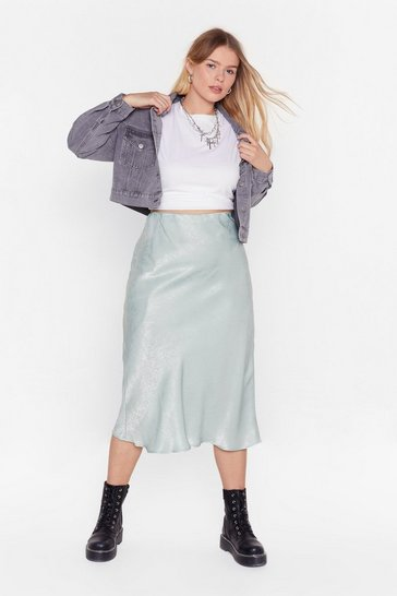 Womens Sage Get Your Sleek On Satin Bias Cut Plus Skirt