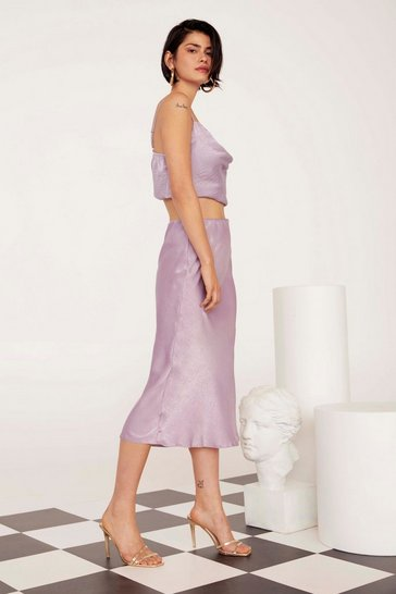 Womens Lilac Get Your Sleek On Satin Bias Cut Skirt