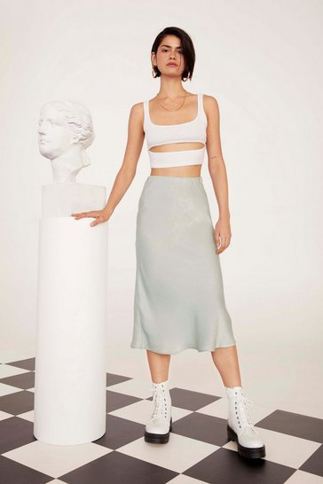 Womens Sage Get Your Sleek On Satin Bias Cut Skirt