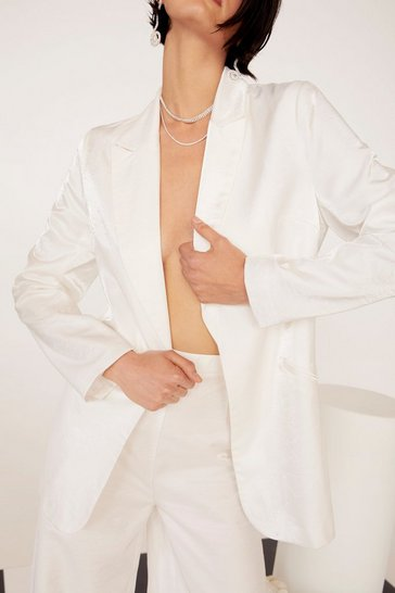 White Metallic Satin Open Front Blazer
