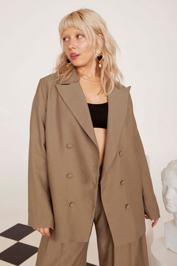 Womens Tan Business As Usual Oversized Plus Blazer