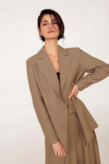 Tan Business As Usual Oversized Double Breasted Blazer