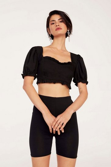 Womens Black Cup Nothing Linen Crop Top