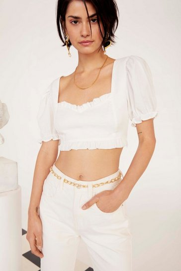 Womens White Cup Nothing Linen Crop Top